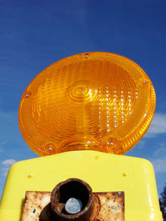 Closeup of a construction light with room for text. Stock Photo