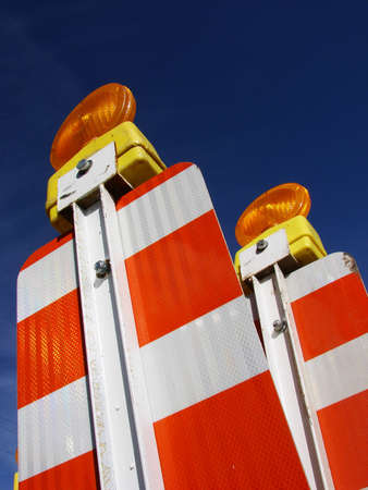 Unique angle on two construction barriers. Stock Photo