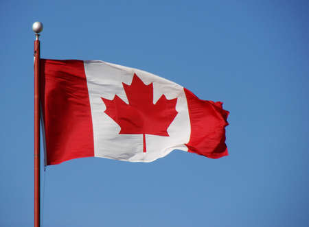 Canadian Flag with flagpole.