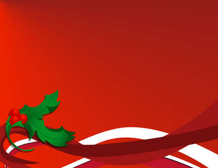 Red Holly Christmas Background Stock Photo
