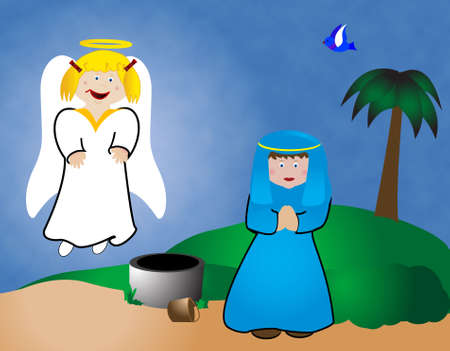 Mary meets an angel in this simple illustration from the Christmas story. illustration