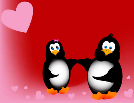 Boy and Girl Penguin hold hands on a field of hearts.