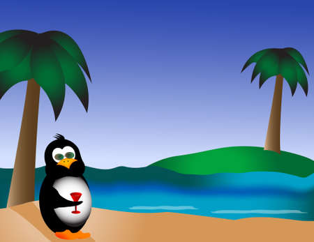 A cool penguin, wearing sunglasses, enjoys his stretch of beach. Ocean waves roll in on the shore, palm trees and a green island becon. Stock Photo