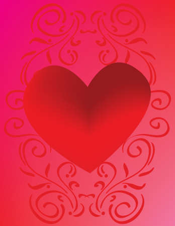 This vibrant background refuses to be ignored. A bright red heart on background of scrolls.