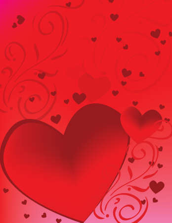 A cascade of hot red hearts is acompanied by delicate scrollwork.  Stock Photo