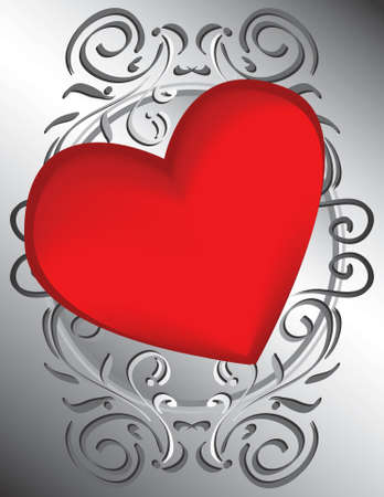 This bold heart resides on an elegant bed of scrollwork.