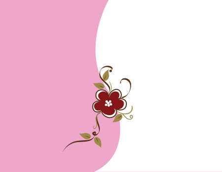 Simple illustration featuring brown and green vines on a pink and white background.