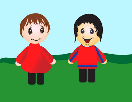 Two animated style characters in an illustrated field.