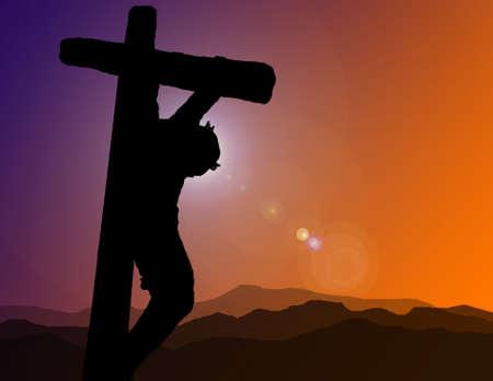 カルバリーの十字架上のキリストのシルエット 写真素材