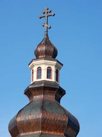 A close cropped shot of a Greek Orthodox Church dome.