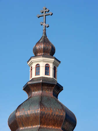 A close cropped shot of a Greek Orthodox Church dome.