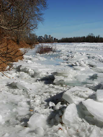 A dynamic shot of ice breaking up on the river.