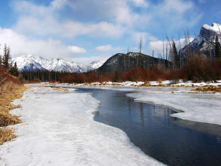 The first day of spring in Banff National Park at Vermillion Lakes.