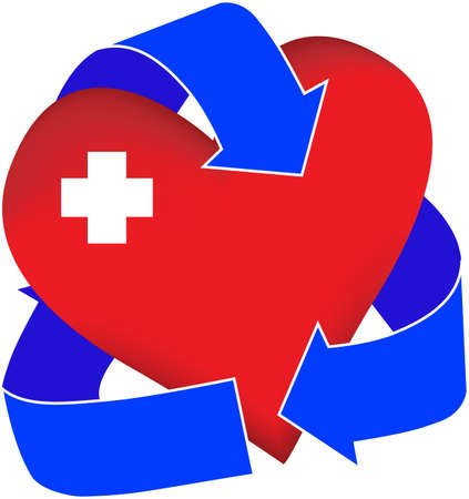 include: A graphic representation of a first-aid heart. Possible uses include illustrations for organ donation or first aid or cpr classes. Stock Photo