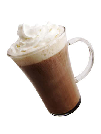 A hot mug of mocha flavored coffee with whipped topping.