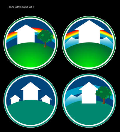 Four various real estate icons. Can also be used for logo development. Space for text at bottom. Stock Photo