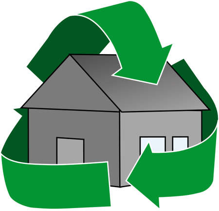An icon depicting a low-emissions house OR an icon depicting a quick house flip. Stock Photo