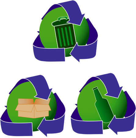 Set of three recycling icons in blue and green. Stock Photo