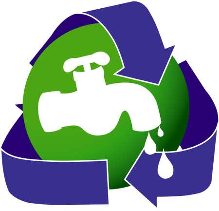 waterbesparing: Een pictogram beeltenis van een druppelende kraan water. Stimulering van waterbesparing.