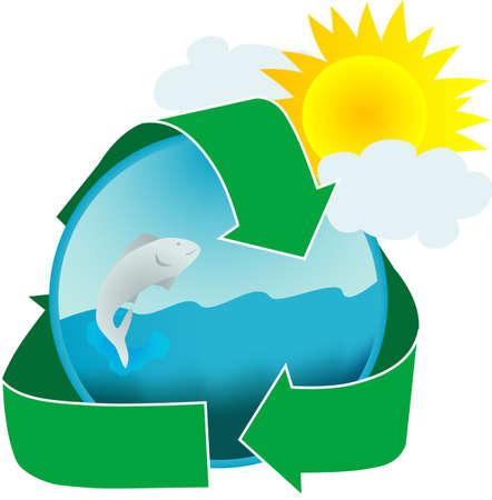 環境に優しい釣りツアー、水保全または明るいイラストを使用したファームも魚を促進します。 写真素材