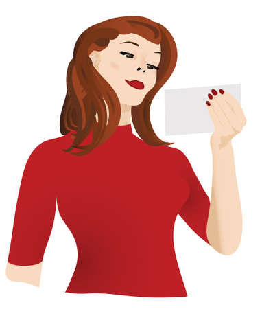 A woman looks at a card or letter. Stock Photo