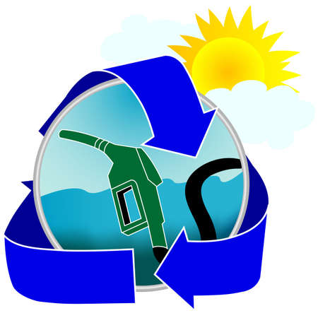 Promote environmentally friendly gasoline or deisel with this colorful illustration.