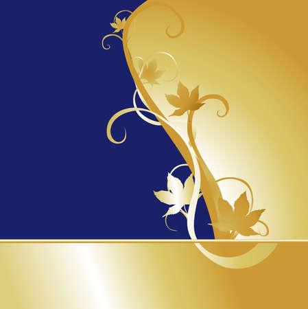 カエデの葉のモチーフを持つ大規模な青および金の背景。