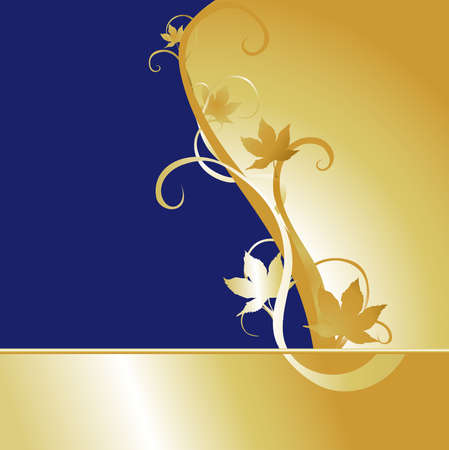 Large blue and gold background with maple leaf motif.
