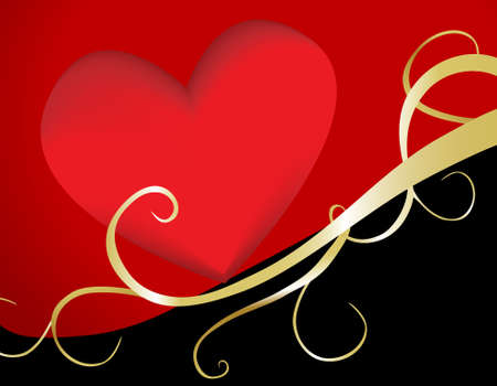 A  heart illustration with golden swashes. Ideal for special occasions such as valentines, weddings and anniversaries. Stock Photo