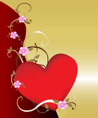 Dramatic floral heart background on gold. Ideal for  and tender concepts. Stock Photo