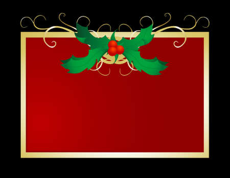 Decorative and festive holly frame perfect for holiday use. Stock Photo
