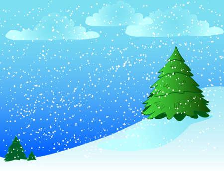 図解冬シーンは雪の丘の上の松の木を備えています。