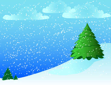 An illustrated winter scene features pine trees on a hill with snowflakes.