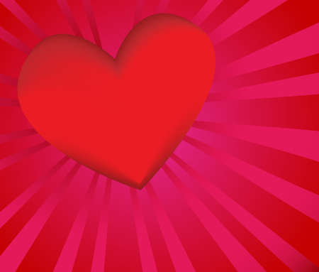 A vivid red heart with pink and red background. Stock Photo