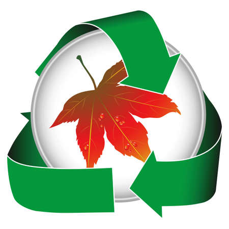 A dynamic earth conservation icon featuring water drops on a maple leaf. Stock Photo