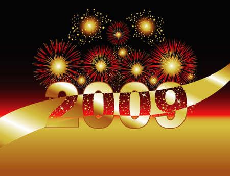 金・赤の花火。2009 年特集します。