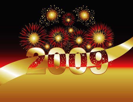 Fireworks in Gold & Red. 2009 featured. Stock Photo