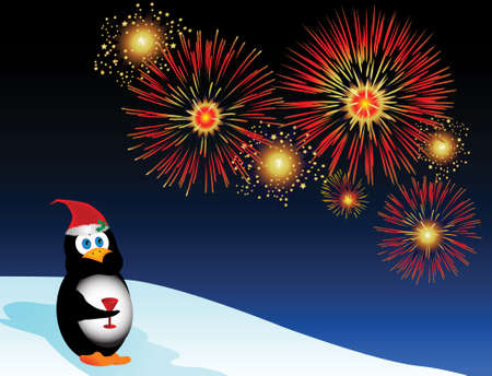 Jolly holiday illustration with a cartoon penguin watching fireworks. Stock Photo