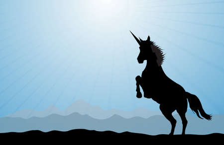 sihlouette: A rearing unicorn on a blue modern background. Stock Photo