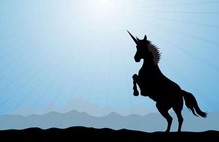 A rearing unicorn on a blue modern background. Stock Photo