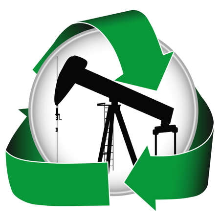 yacimiento petrolero: Ambientalmente sensible la producci�n de petr�leo se puede promover con este icono. Foto de archivo