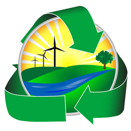 eco sensitive: Wind power in a healthy environment. This icon depicts a river, green hills and trees in addition to sunshine and wind mills. Stock Photo