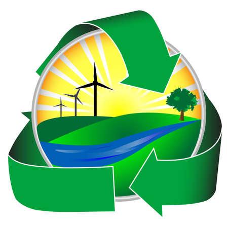 Windenergie in einer gesunden Umwelt. Dieses Symbol zeigt einen Fluss, grünen Hügeln und Bäumen neben der Sonne und Wind Mühlen. Standard-Bild - 3838551