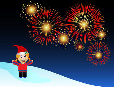 A festive cartoon female watches fireworks.