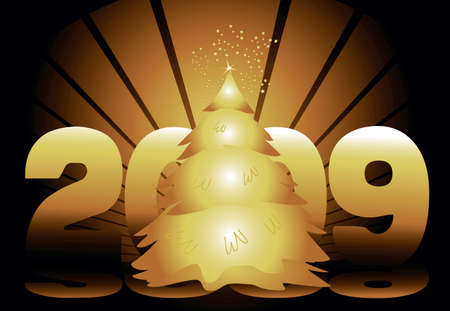 Ring in  2009 with a gold starburst and tree. Stock Photo - 3995784