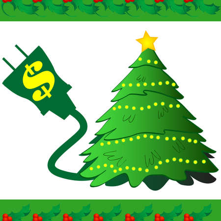 grounded plug: Electricity icon for Christmas lights. Inspire people to think about the cost of powering their decorations.