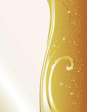 このゴールド & 真珠の新しい年の促された背景を祝います。機能のバーストのスターと火花のカスケード。
