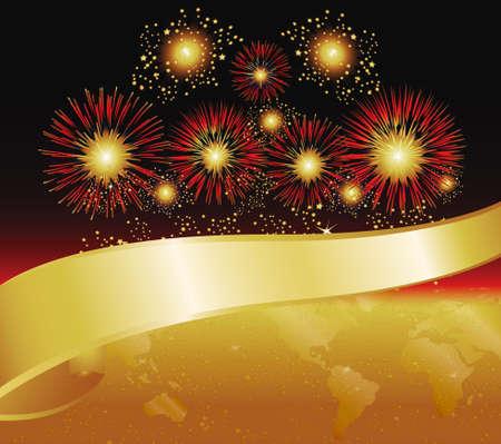 fin de ao: Fuegos artificiales en rojo y oro. Mapa del mundo y caracter�sticas Banner.