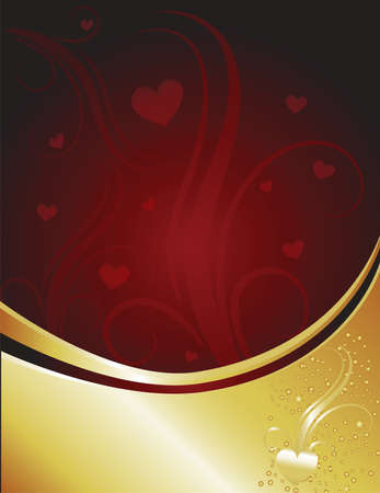 A golden heart in a cascade of sparks hilighted against a dark red background. Contemporary valentines theme. Stock Photo