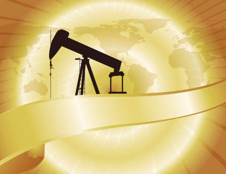 oil and gas industry: A pump jack stands on a golden backdrop of oil. World map also featured.